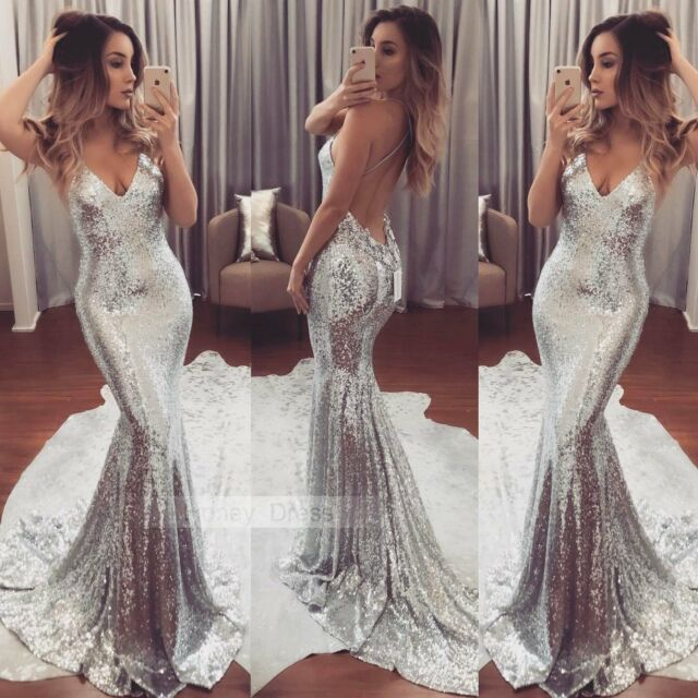 Women Sequins Dress Prom Formal Evening Gown Ball Party Bridesmaid Dress Costume
