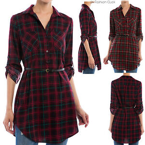 Women Plaid Flannel Button Down Checker Pattern Belted