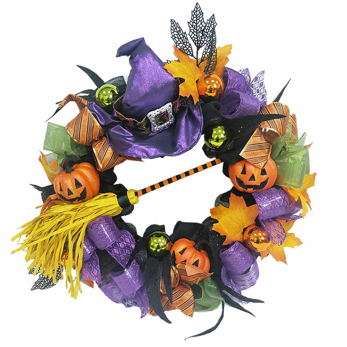 Halloween 24  (60cm) Decorative Witch Wreath Indoor and Shelterot Outdoor Use