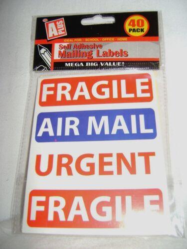 o correo aéreo postal pegatinas frágil urgente no doblar 1ST Clase 120 Nuevo 40