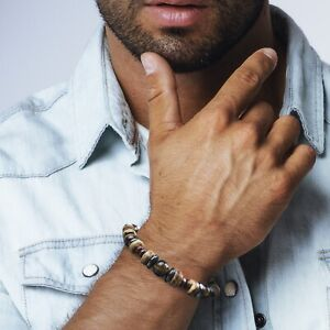 Bracelet-Homme-Femme-Pierres-Tiger-Oeil-du-Tigre-Hematite-bois-Lithotherapie-Men