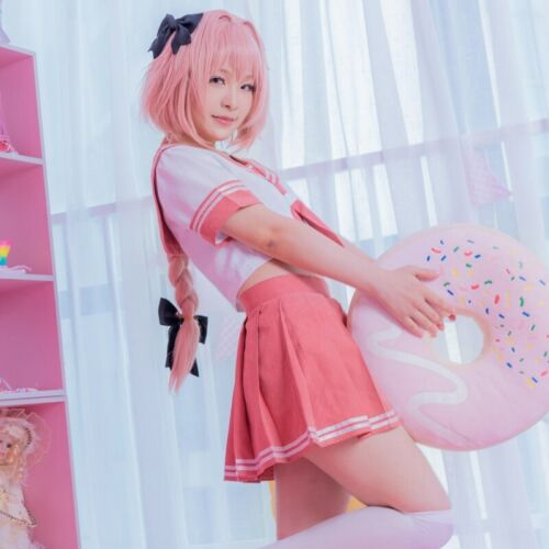 New Anime Fate Apocrypha Astolfo Cosplay Costume JK Uniform Sailor Suit Full Set