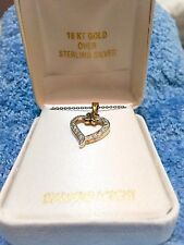 Diamond-accent 18kt Yellow Gold Over Sterling Silver Heart Necklace 18