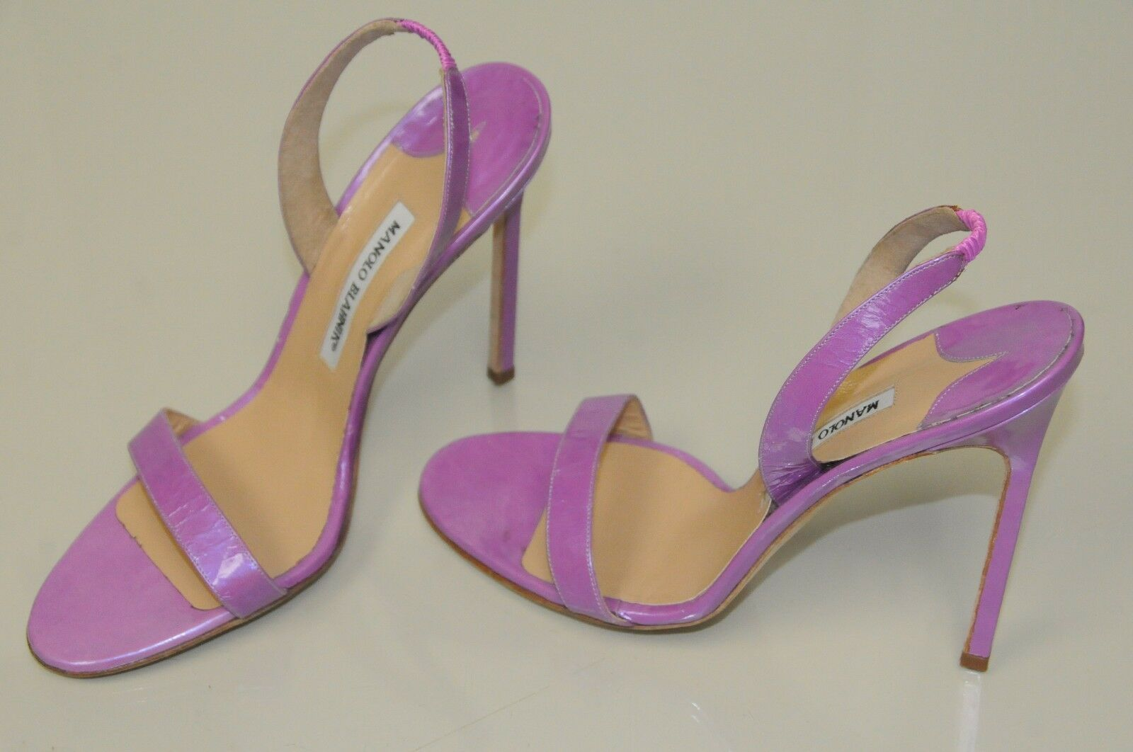 New Manolo Blahnik Purple Patent Leather Strappy Sandals shoes BB  Heels 40 40.5