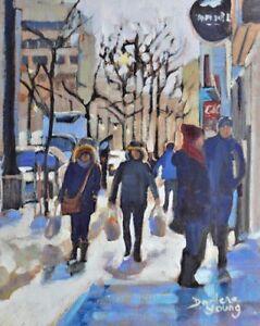 Montreal-Winter-Scene-Ste-Catherine-8x10-Oil-Darlene-Young-Canadian-Artist