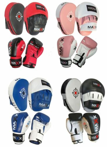 2PC Maxx PRO BOXING GLOVES & LEATHER CURVED FOCUS PADS Bundle MMA Training New