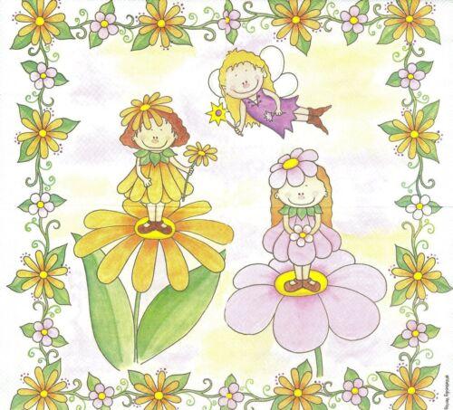 2 Serviettes en papier Vielseidig Fée fleurs Paper Napkins Flower Fairy