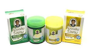 WANGPHROM-Original-Thai-Herbal-Massage-Green-amp-Yellow-Balm-Relief-Pain-50g