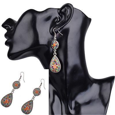 1 Pair New Vintage Fashion Bohemian Style Multicolor Dangle Hook Alloy Earrings