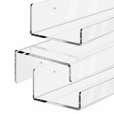 17 inch Clear Acrylic Floating Shelf Wall Mounted Display Organizer Set of 2