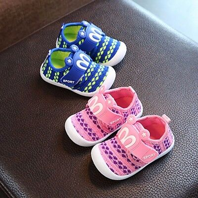 Toddler Kids Baby Boy Girl Squeaky Single Shoes Soft Sneakers Trainers Prewalker