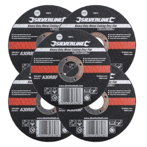 5 Flat Metal Cutting Disc 115mm x 3mm x 22.2mm Bore Angle Grinder Cut Off Discs