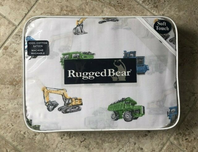 Rugged Bear Construction Trucks Tractors Cotton Sa Kids Twin Sheet Set
