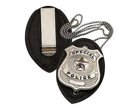 Leather Police/Security Badge Holder w/Ball Neck Chain & Pocket/Belt Clip! NEW