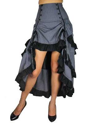 Plus Size Gothic Steampunk Grey Black Pinstripe 3 Tiered Tail-skirt 1X 2X 3X 4X