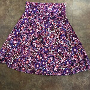 Lularoe-Skirt-L-Azure-Fit-And-Flare-Poly-Spandex-Size-Large-Purple-Blue-Coral