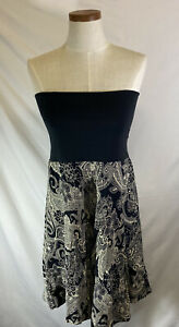 CAbi-Women-039-s-Black-Cream-Paisley-Reversible-Bubble-Skirt-Dress-Size-S