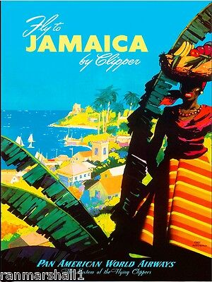 Vintage Travel Poster Jamaica by West India Mail Service 1900/'s