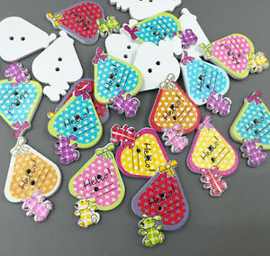 25X-Cartoon-animals-Wooden-sewing-Buttons-2-holes-Mixed-scrapbooking-crafts-27mm