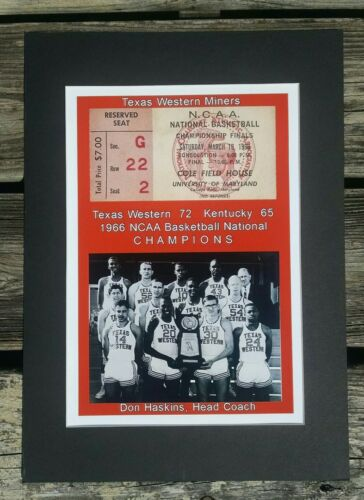 Texas Western Miners 1966 NCAA Champions matted photo of finals ticket /& team #2