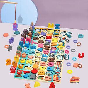 En Bois Bois ALPHABETS LETTRE chiffres Jigsaw Puzzle éducatif Board Kids Toys