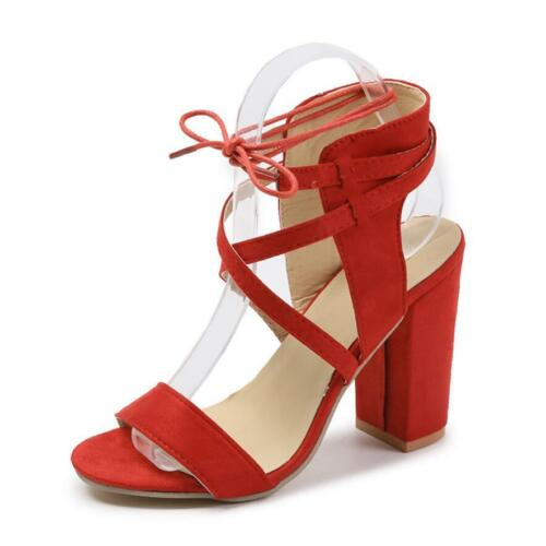 Women Open Toe Tie Lace Up Ankle Strap Party Sandals High Block Heels Shoes Size