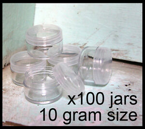100-x-10g-CLEAR-LIP-BALM-JARS-containers-pots-brand-new-plastic-screw-top-lid