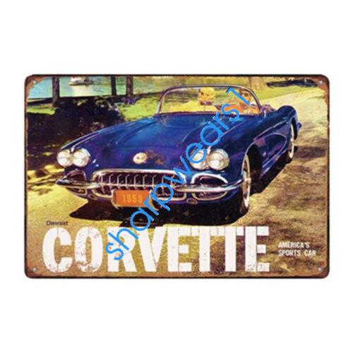 Metal Tin Sign CORVETTE CAR Pub Bar Home Vintage Retro Poster Cafe ART