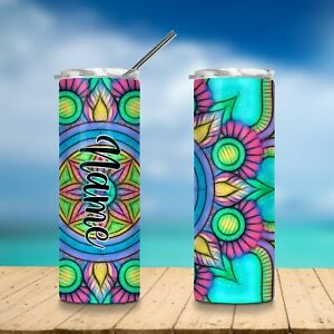 Mandala-Stainless-Steel-Insulated-Tumbler-Tall-Skinny-With-Metal-Straw