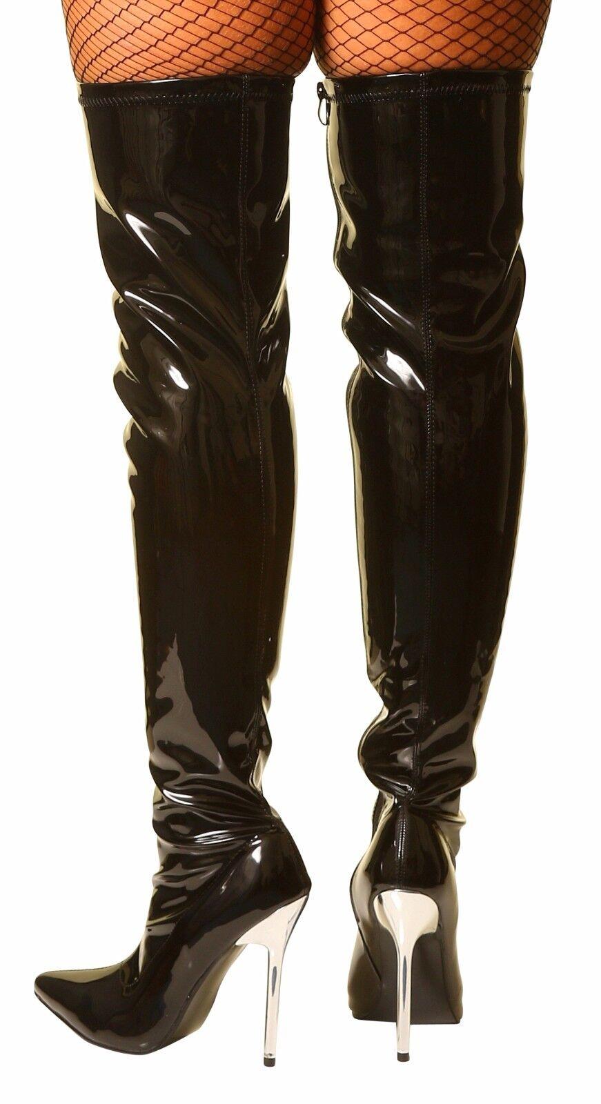 Damenstiefel Sexy Schwarz Lackstiefel Overkneestiefel Rot Weiß Schwarz Sexy Stiletto-Stiefel 3fad46