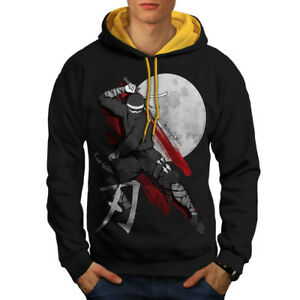 New Contrast Hood Fantasy Moon Hoodie gold Japan Ninja Men Black wfRq4vSx