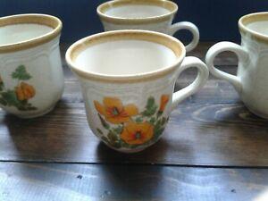 Mikasa-Garden-Club-Petunias-Coffee-Mugs-set-of-4-vintage