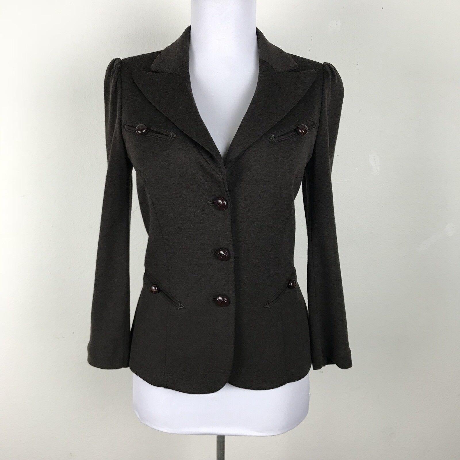 Diane Von Furstenburg Blazer Size 4 Retro vtg 40s style Brown Wool Career Work