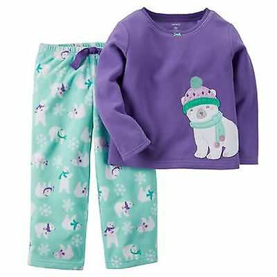 NEW Carter's 2 Piece PJs Soft Bear Purple Top & Fleece Pants NWT  6 7 8 10 12