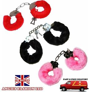 Fluffy Furry Black Handcuffs Stag Hen Night Fancy Dress Accessories Role Play