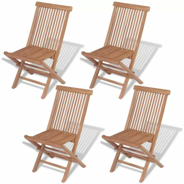 Vidaxl Folding Garden Chairs 4 Pcs Solid Teak Wood