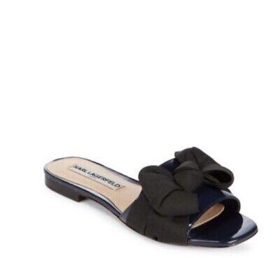 WMN Karl Lagerfeld Paris Rosie Slip On Sandal Patent Leather Navy//Black MSRP $99