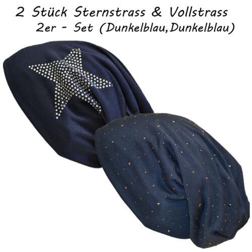2 Stück SET Jersey Slouch Voll /& Stern Strass Beanie Uni XXL Long Mütze Damen