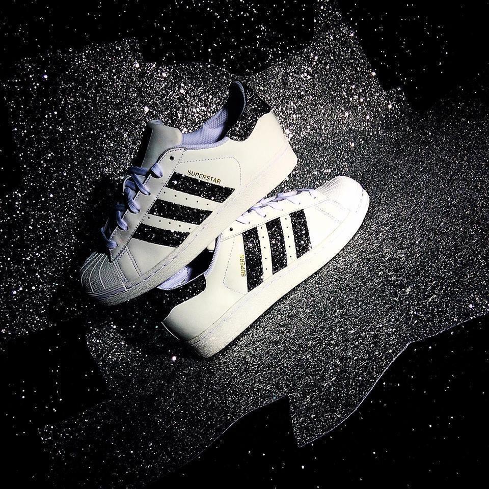 shoes adidas superstar con glitter black