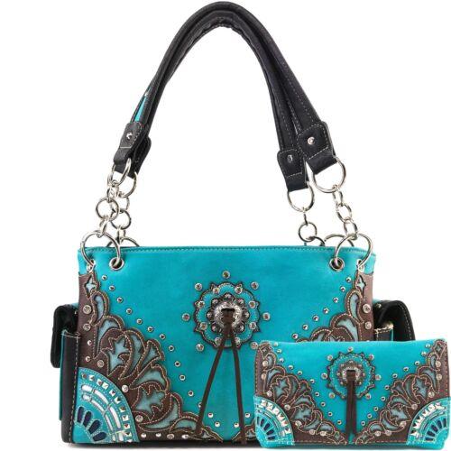 Conceal Western Shoulder Pattern Floral Damask Carry Justin West Handbag Concho XkZiTPOu