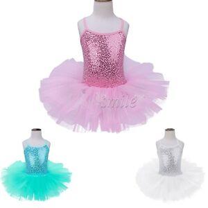 Girl Kid Ballet Tutu Sequined Gymnastics Cotton Dress Leotard Dance Wear Costume
