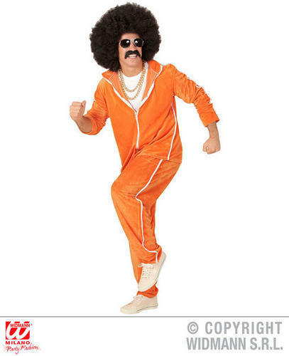 Mens Orange Retro 1980S Chenille Tracksuit 80S Fancy Dress Costume Outfit