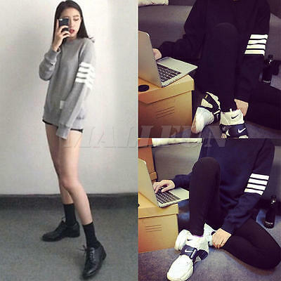 Women's Stripe Sleeve Casual Hoodie Jacket Coat Sweatshirt Pullover Sweater