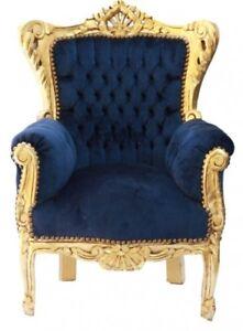 casa padrino barock kinder sessel royalblau gold moebel
