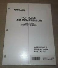 Sullair 1300h 1600 Detroit Air Compressor Parts Operation Maintenance Manual