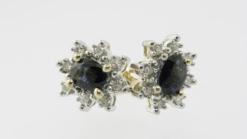 Naturel 1.0 Carat poids total saphir et 1//4 carat poids total Diamant Boucles d/'oreilles 10K Jaune /& Or Blanc