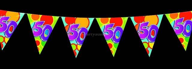 Wimpelkette 50. Geburtstag bunt L= 10 m Girlande Party Fest Feier Jubiläum