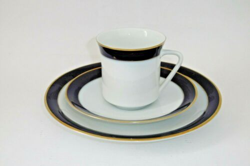 Dekor Kaffeegedeck 3 tlg. Thomas Porzellan Rheinland Kobalt Gold