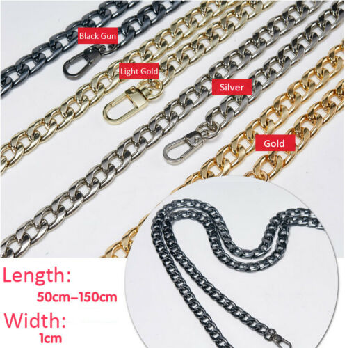 Replacement Metallic Flat Chain Strap Women Handbag Shoulder Crossbody Bag Strap