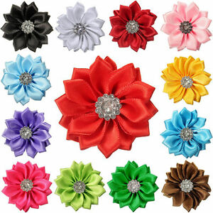 AS-10Pcs-Upick-Satin-Ribbon-Flowers-Bows-Rhinestone-Appliques-Craft-Wedding-Nov